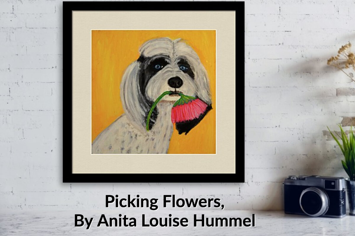Framed Dog with Flower in mouth