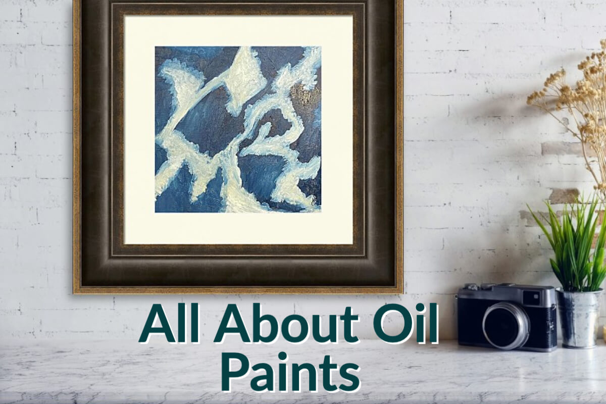 Abstract oil painting in indigo and white