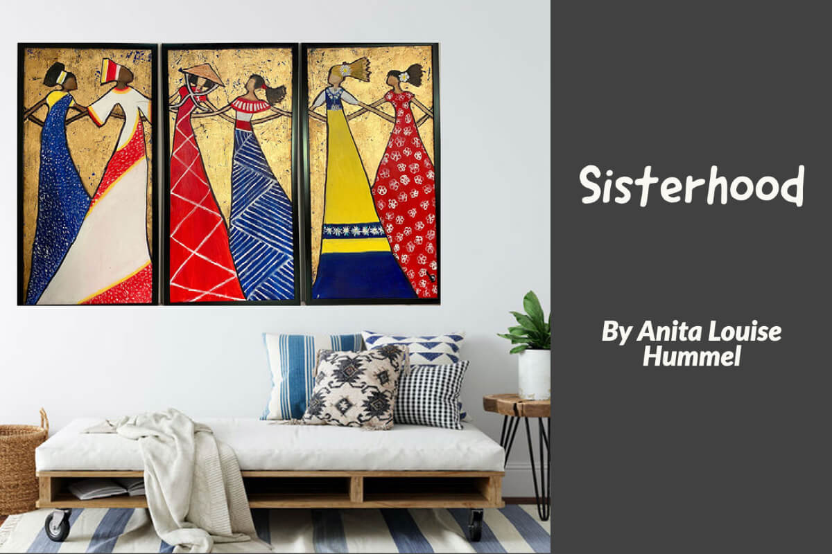 3 panesl with gold leafing of women from different cultures
