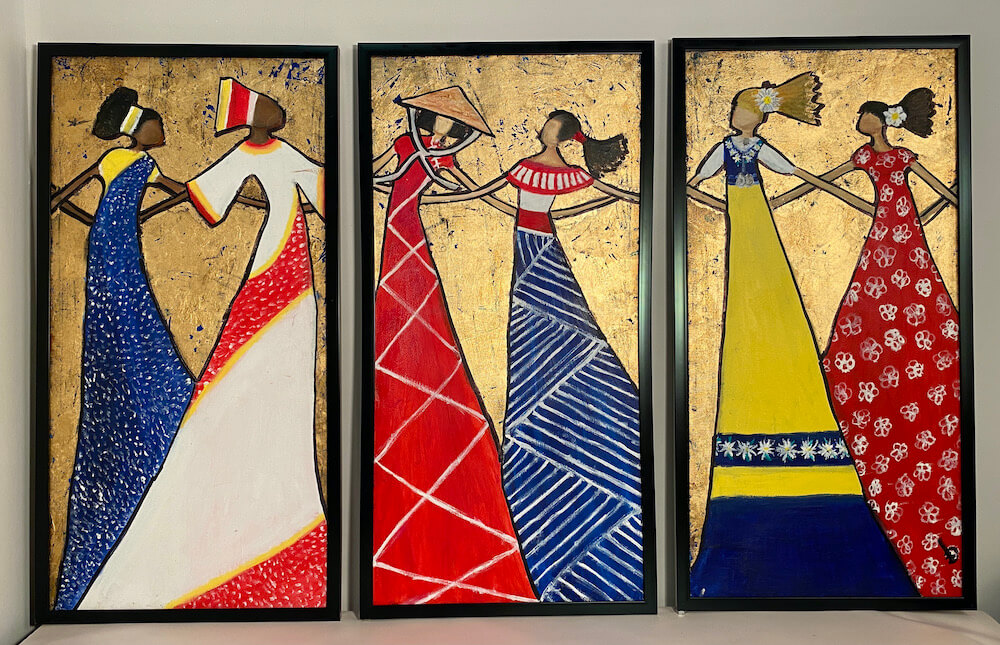 3 Panels of Artwork with women from different cultures